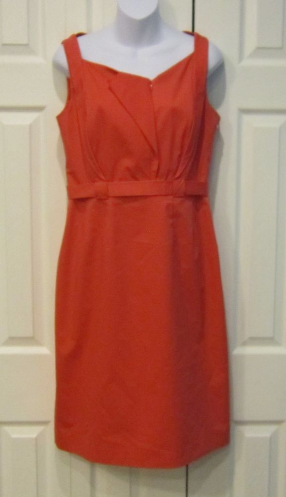 Elie Tahari Coral Zip Front Accent Snap Belt Waist Sleeveless Lined Dress 8 #ElieTahari #WigglePencil #Cocktail