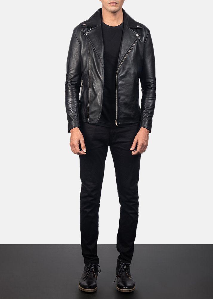 Mens Paded Black Basic Leather Jacket Custom