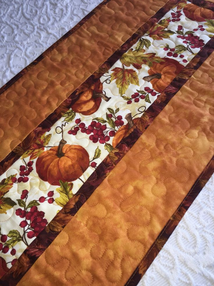 Fall Autumn Table Runner Quilt, Thanksgiving , Orange, Pumpkin Decor, Leaves…