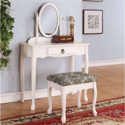 bedroom vanity table oval mirror wood make up table vanity set w bench white 10722