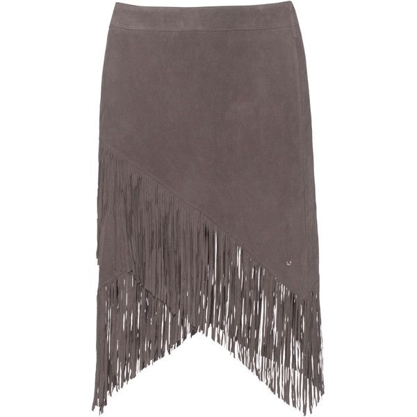 TRUE RELIGION Fringe Mini Grey // Leather mini skirt with fringes (285 CAD) ❤ liked on Polyvore featuring skirts, mini skirts, bottoms, gray skirt, long skirts, leather skirt, grey mini skirt and western skirts