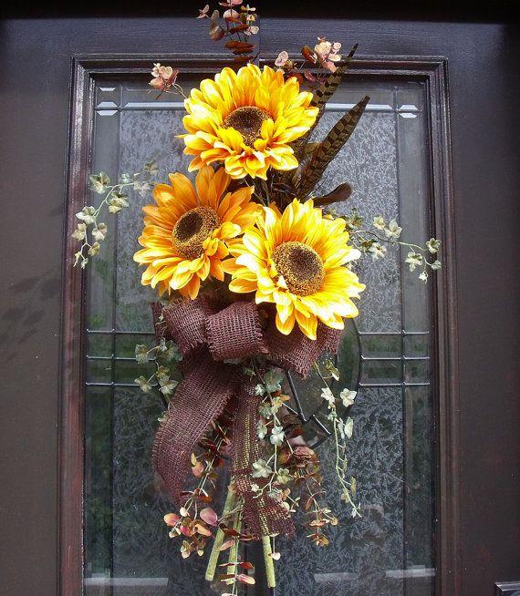 Fall Wreath Yellow Sunflower Swag Summer Wreath Front Door Decoration Sunflower Bouquet. $89.00, via Etsy.