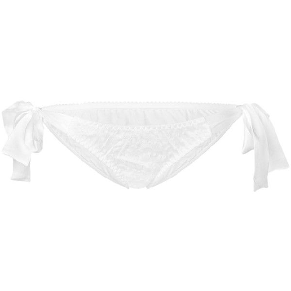 Gilda & Pearl Evelyn Tie Side knicker ($130) ❤ liked on Polyvore featuring intimates, panties, white, underwear lingerie, white knickers and white lingerie