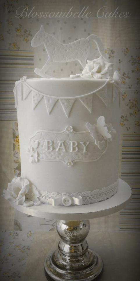 Vintage style baby shower cake - double barrel by Blossombelle Cakes & Eliza Howard Virgona