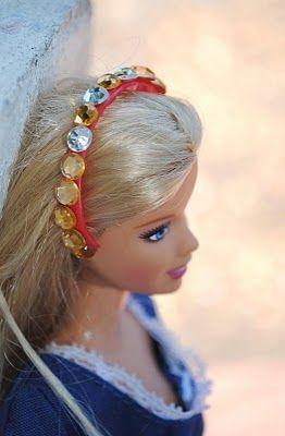 Bottle cap rings turned into Barbie headbands.