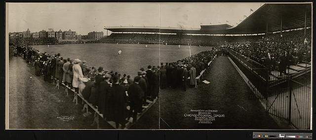 Kansas City vs. Chicago, opening day, Chicago, Federal League, baseball park, Addison & Clark Sts., April 23, 1914, attendance 28,436