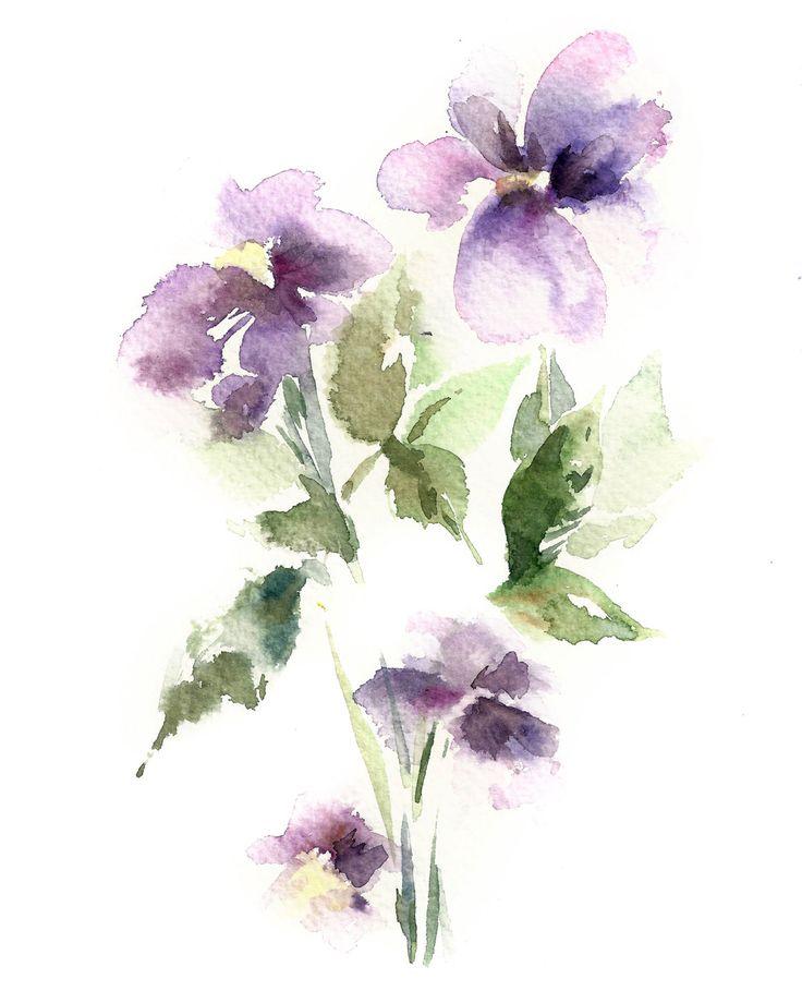 Aquarelle Art imprimé fleurs pourpres peinture par CanotStopPrints
