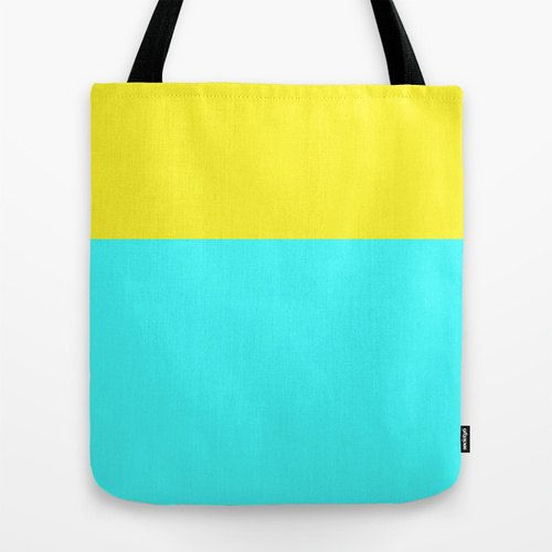 Women's Tote Bag - Color Block, Yellow and Cyan, Canvas Bag
