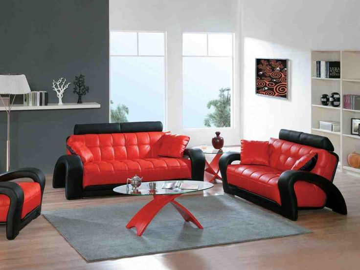 Attractive Red Living Room Set