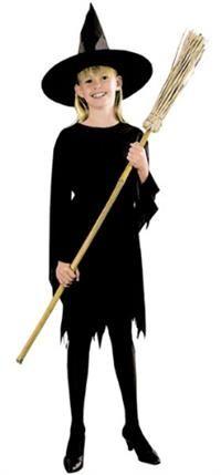 Cadı Kostümü, Siyah 10-12 Yaş