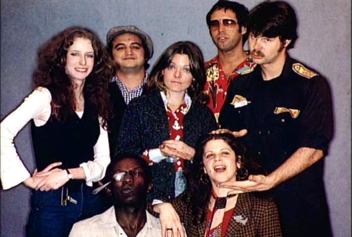 The original cast of SNL. Laraine Newman, John Belushi, Jane Curtin, Gilda Radner, Dan Aykroyd, Garrett Morris and Chevy Chase