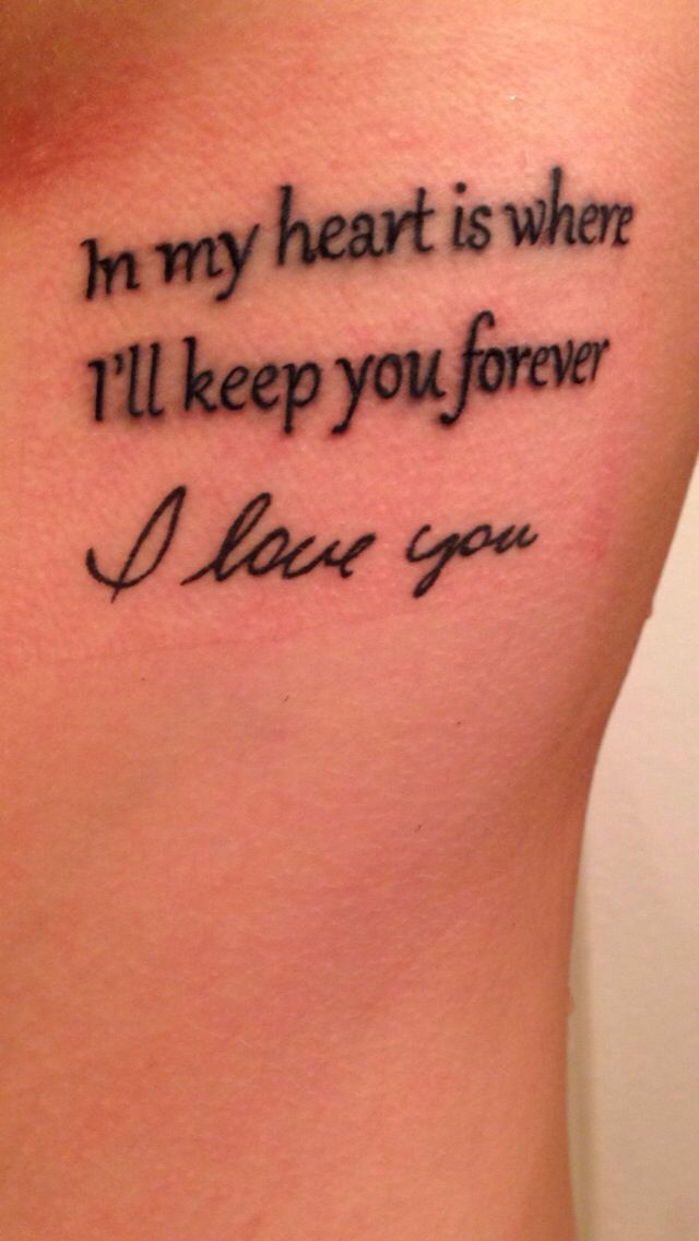 "Tattoo of Godmother's handwriting with the words ""in my heart is where I'll keep you forever"" above it"