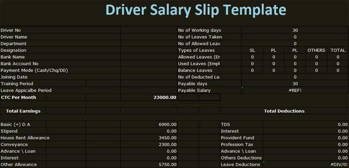 Car Driver Salary Receipt Template Format u2013 Excel Template Execl - payslip free download