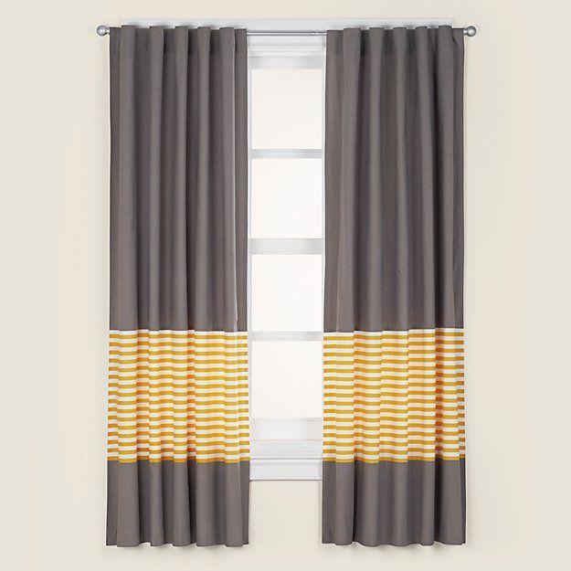 "Organic New School Yellow Stripe 84"" Curtain | The Land of Nod"