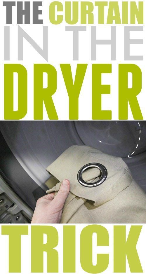 "This curtain in the dryer trick makes so much sense it will make you ask ""Why didn't I think of that?"" Try this one out the next time your drapes need freshening up! #laundry #cleaning #housekeeping"