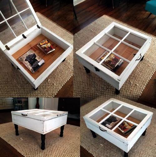 Uma #janela reaproveitada como mesa de centro, que ainda serve como #baú. Genial! #ficaadica #facavocemesmo #DIY