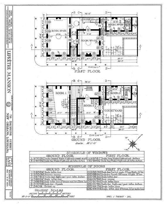 10 best architecture art images on pinterest architectural new orleans french quarter mansion architectural drawing blueprint floorplan giclee print 18x 24 malvernweather Gallery