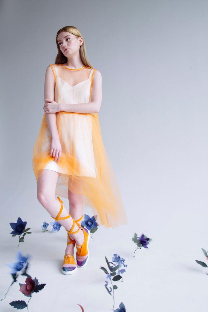 "Прозрачное платье без рукавов ""Абрикос""/Transparent sleeveless dress ""Apricotes"""