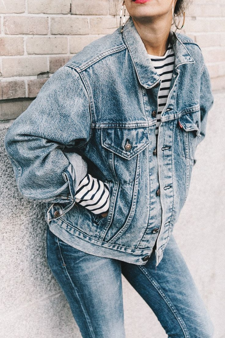 Double_Denim-Levis_Vintage-Skinny_Jeans-Striped_Top http://FashionCognoscente.blogspot.com