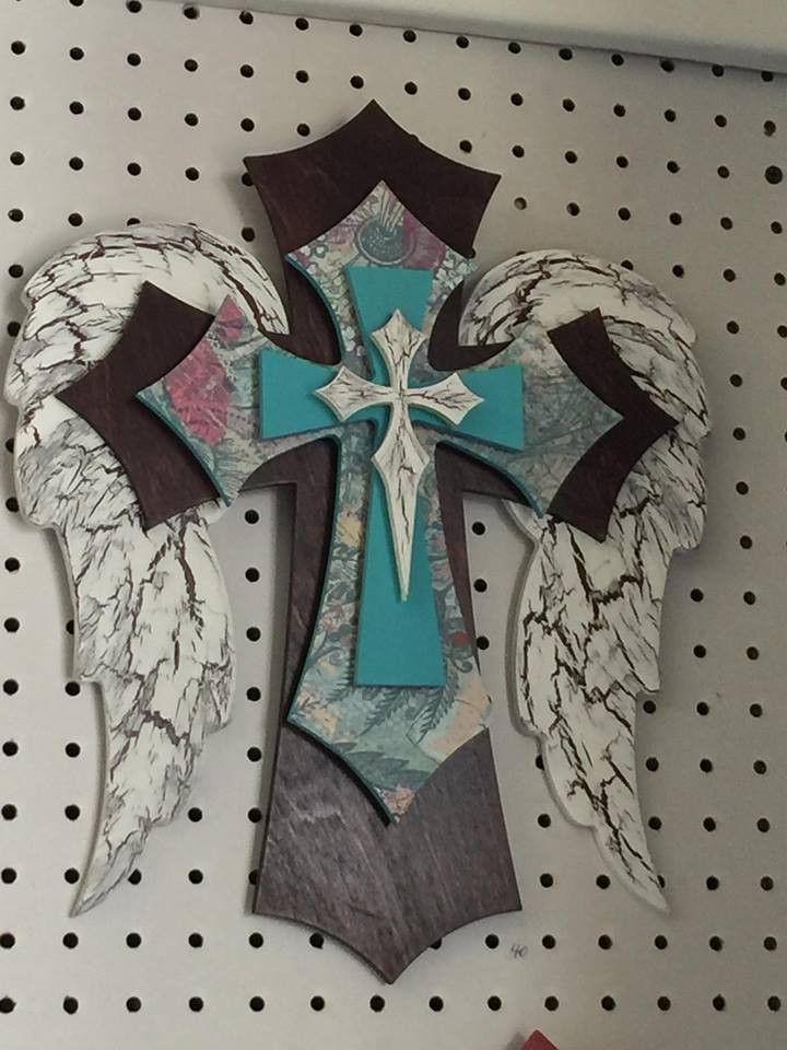 """15"""" Angel Wing Turquoise Layered Cross"""