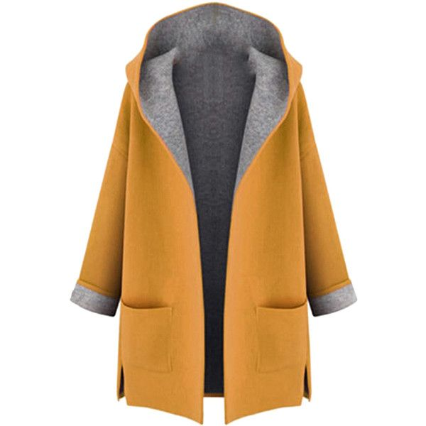 Womens Stylish Plus Size Hooded Cardigan Trench Coat Yellow (2.260 RUB) ❤ liked on Polyvore featuring outerwear, coats, yellow, hooded trench coat, yellow coat, hooded trenchcoat, women plus size coats and hooded coat