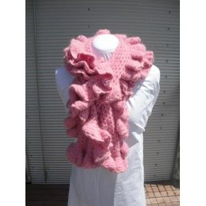 This Soft Pink hand crochet scarf is just so soft and warm you want to cuddle with it. It measures nearly 2 metres in length and is finished with a fancy scallop edge.Just right for those evenings out. Scarf is OOAK this wool is no longer available.
