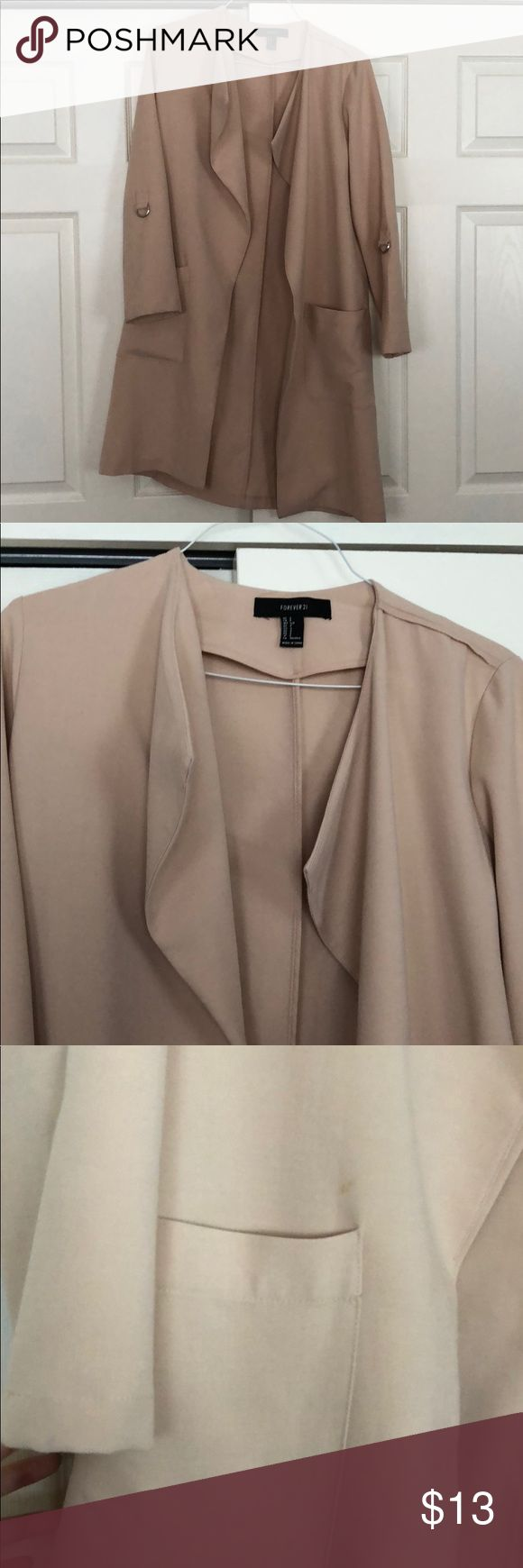 Casual Cream Jacket One of my favorite go-to fall/spring jackets! This light weight cream color jacket is in fair condition, just some mini stains from wear shown in photos. Compliments dresses and everyday outfits very well! Open to trades and offers! Forever 21 Jackets & Coats Pea Coats