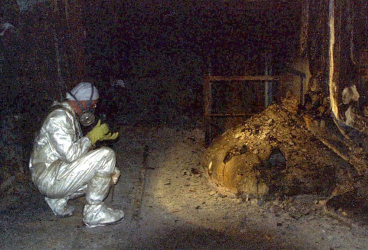 The Elephants Foot of the Chernobyl disaster. Photo was taken later after the radiation weakened.1986