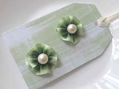 DIY Tiny Ruffled Ribbon Flower Rosette Stud Earrings w/ Pearl Post Centers (Makeover)