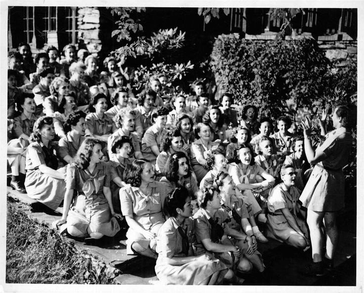 In the 1947, Girl Scouts gathered for camp—and singing—on the steps of the Great Hall at Camp Edith Macy.