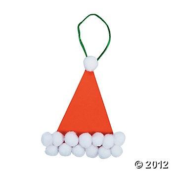 Pom-Pom Santa Hat Ornament Craft Kit, Ornament Crafts, Crafts for Kids, Craft & Hobby Supplies - Oriental Trading