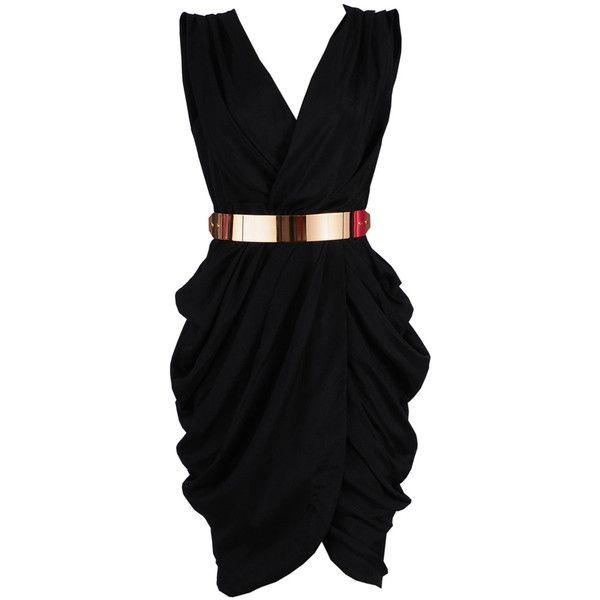 'MONROE' BLACK CHIFFON WRAP DRESS ❤ liked on Polyvore