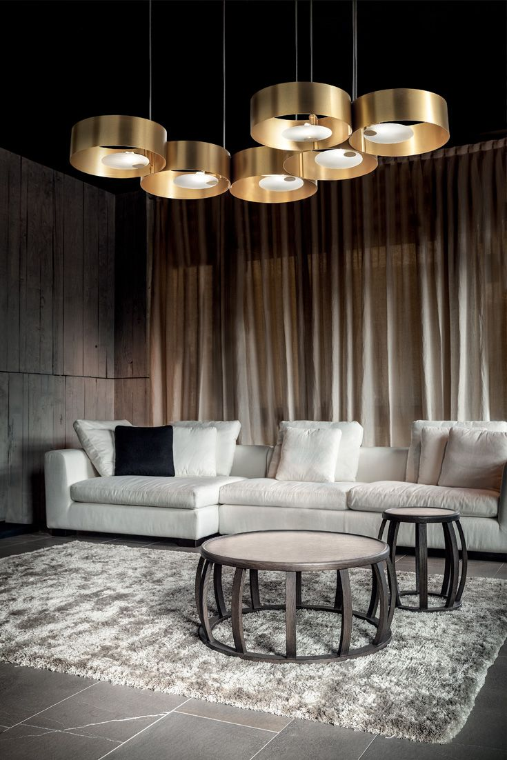 Large Contemporary Gold-Plated Suspension Light in 2019