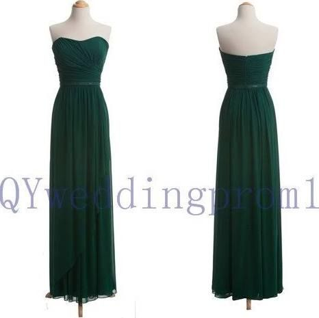 2015 New long chiffon evening dress, simple chiffon PROM dress, cheap