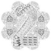 Mandala con numero dos para colorear. Zentangle decorativo Vector Ilustraciones De Stock Sin Royalties Gratis