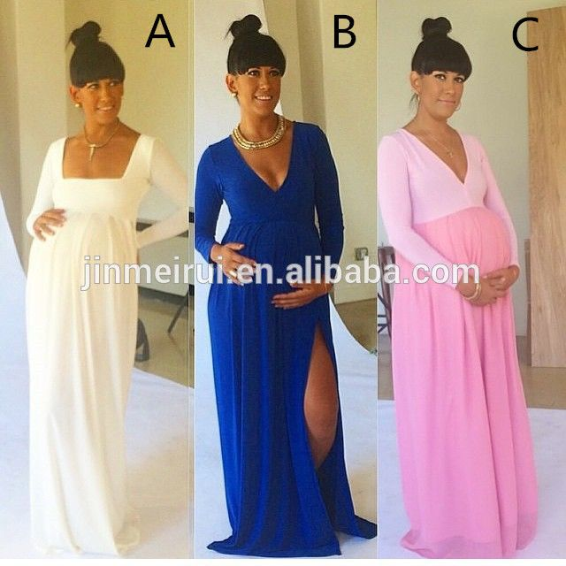 127ffbd250a9d Source Latest Sexy Maternity Dresses with Side Slit V-neck Royal Blue Baby  Shower Long Sleeve Pregnant Dresses Cheap on m.alibaba.com | ARE WEDDING  DAY ...
