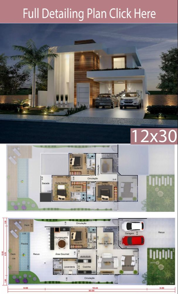 Home Design 12x30 Meters 4 Bedrooms Home Ideas Modern House Facades Architectural House Plans Modern House Floor Plans