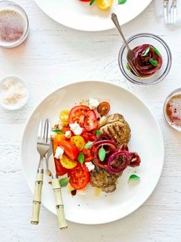 Sirloin steaks with tomato, ricotta and quick onion pickle from Australian Gourmet Traveller Magazine, February 2013
