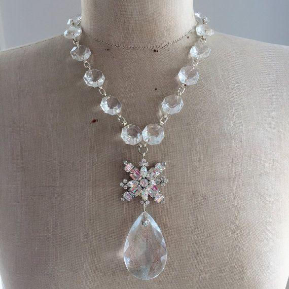 SALE Vintage Necklace, Wedding Necklace, Chandelier Crystal, Rhinestone Necklace - Stari