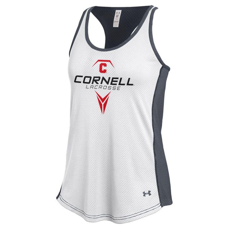 Cornell Big Red Under Armour Women's Lacrosse Bolo Mesh Tank Top - White