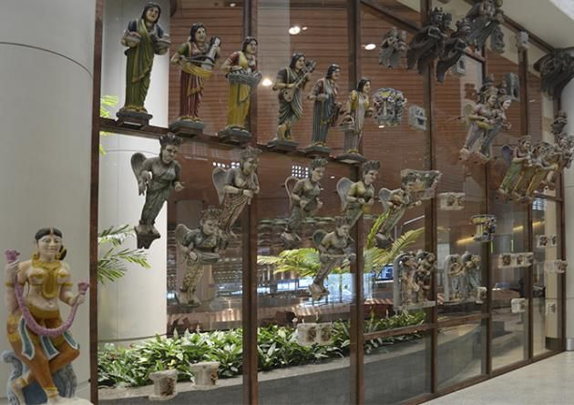 Musical Apsaras, a view of an art installation at the Jaya He, Musuem in the Mumbai International airport.