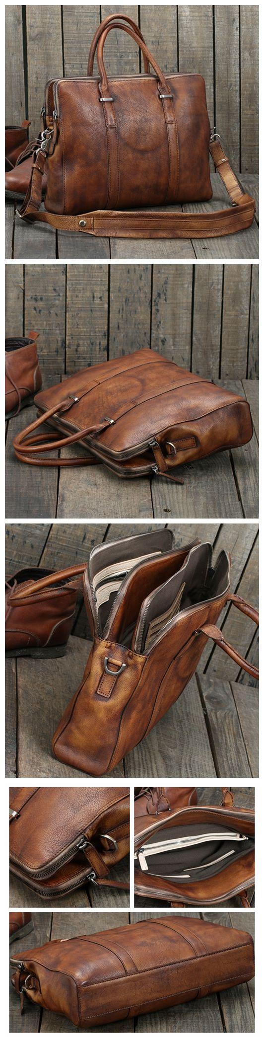 Handmade Vintage Brown Leather Briefcase Men Business Bag Handbag Fashion Laptop Bag 14119 - Vintage Brown