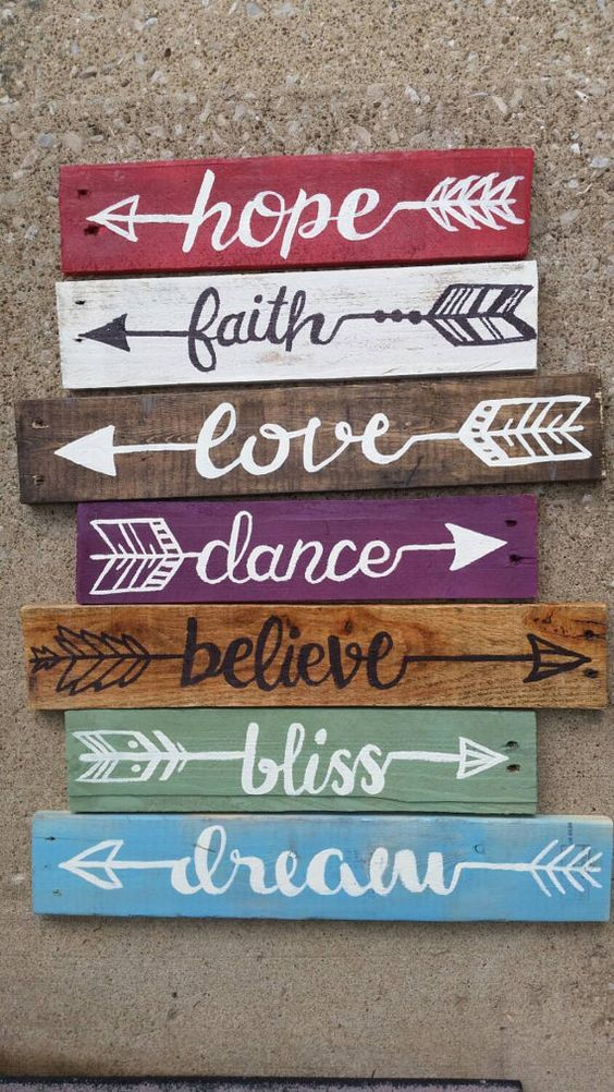 Pack of three Rustic Upcycled Arrow Wood Pallet Signs  In this 3 pack of Arrows, you may choose 2 Plain arrows and 1 Quote arrow of your choice.