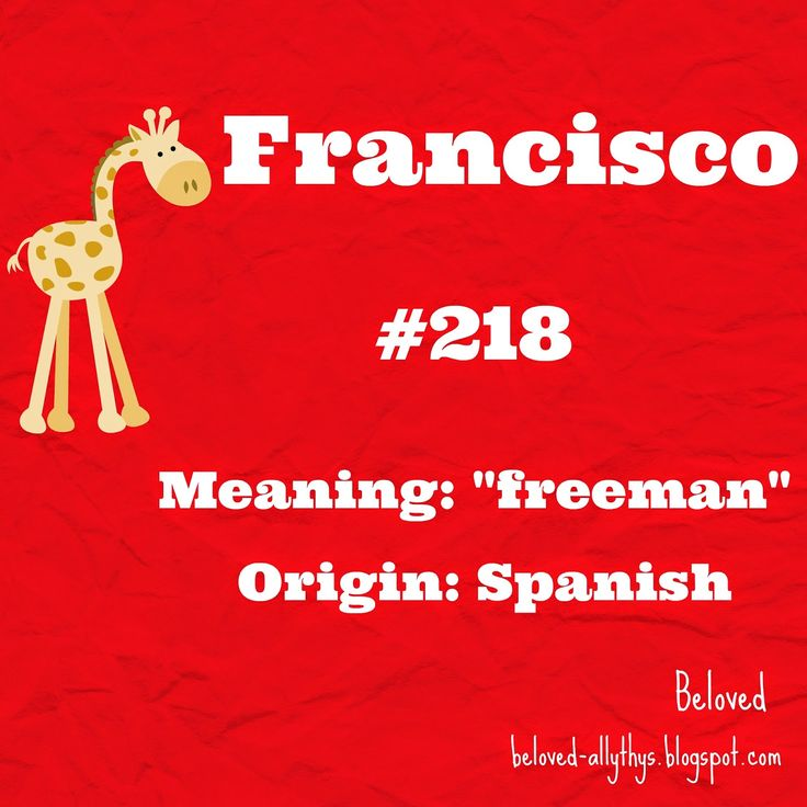 Francisco was the most popular boys name that starts with F in 2013! See the most popular names for the rest of the alphabet in the article.