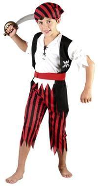 Korsan Çocuk Kostümü, Lüks Kırmızı 4-6 Yaş Parti Kostümleri - Erkek Çocuk Parti Kostümleri Plastik kılıç kostüma dahil değildir.