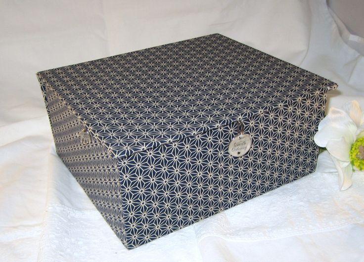 """Schmuckbox dunkelblau """"schlicht schön - Asanoha"""" von  SchönsteOrdnung  -  Schmuck - Kästchen, Schatullen, Kassetten, Aufbewahrung,  Boxen nach Wunsch, kreativ, mit Namen, Widmung, handgemacht, für Kinder, Mädchen, Frauen, auf DaWanda.com"""