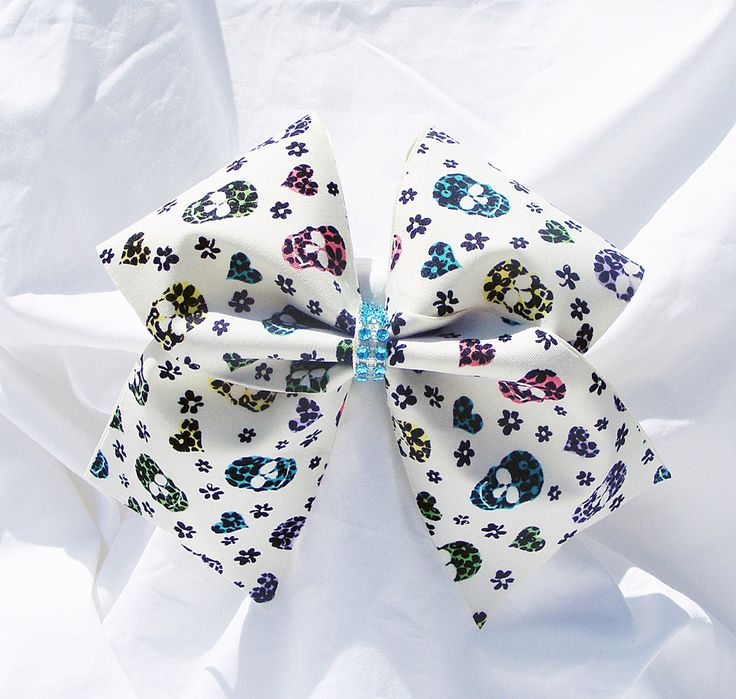 Cheer bow,suger skulls cheer bow, hearts cheer bow,Cheerleader bow,Cheerleading bow,dance bow,softball bow,cheerbow by MadeForMeCheerBows on Etsy https://www.etsy.com/listing/238571546/cheer-bowsuger-skulls-cheer-bow-hearts