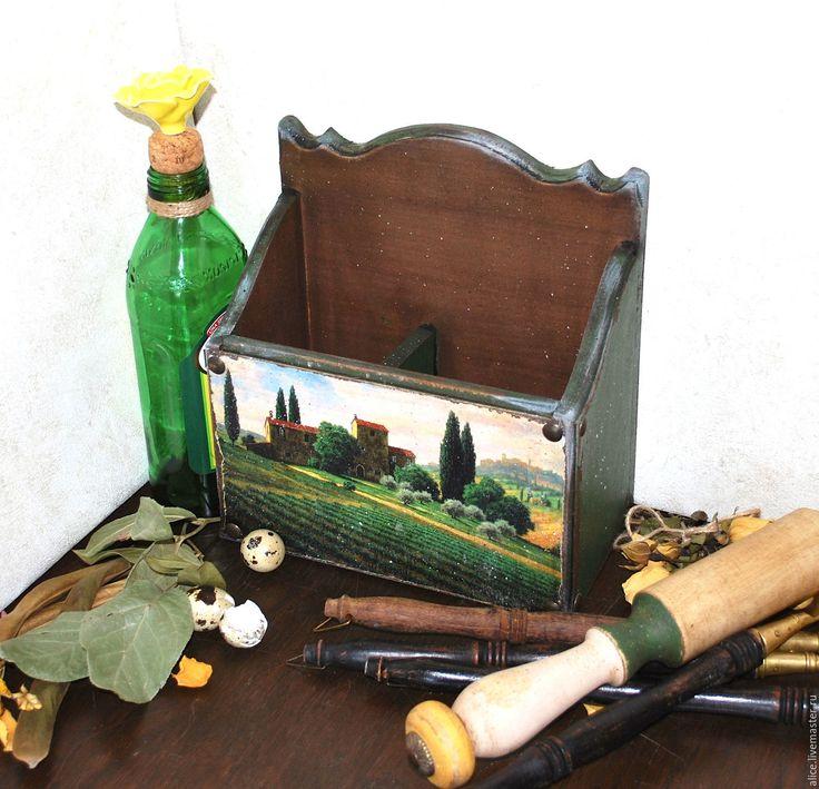 Купить ТОСКАНА подставка для столовых приборов - тёмно-зелёный, кухня, кухонный интерьер, кухонная утварь
