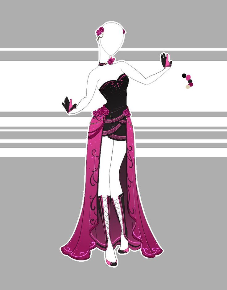 Two down, three more to go. (Just waiting on some responses *sweats*) For this one I was requested to draw a slim, runway style dress with a high-low skirt and a black/magenta color scheme. I think...