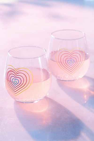 Rainbow Stemless Wine Glasses Set